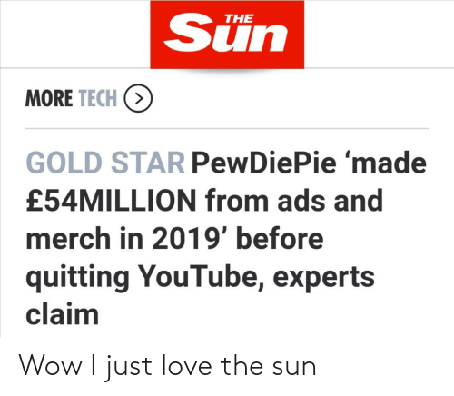 Love, Wow, and youtube.com: Sün  THE  MORE TECH (>  GOLD STAR PewDiePie 'made  £54MILLION from ads and  merch in 2019' before  quitting YouTube, experts  claim Wow I just love the sun